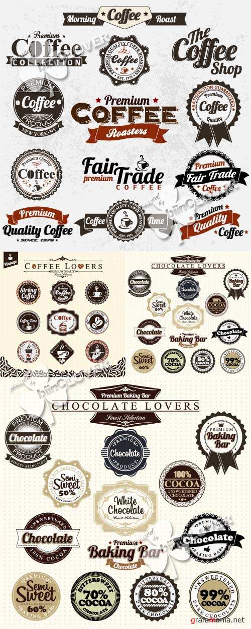 Vintage coffee and chocolate labels 0125