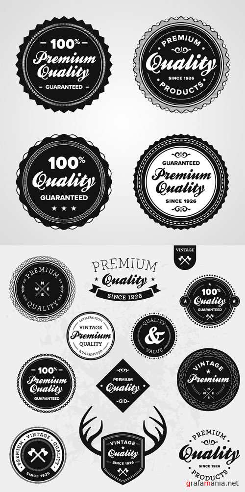 Black and White Vector Labels #7
