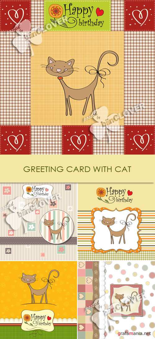 Greeting card with cat 0126