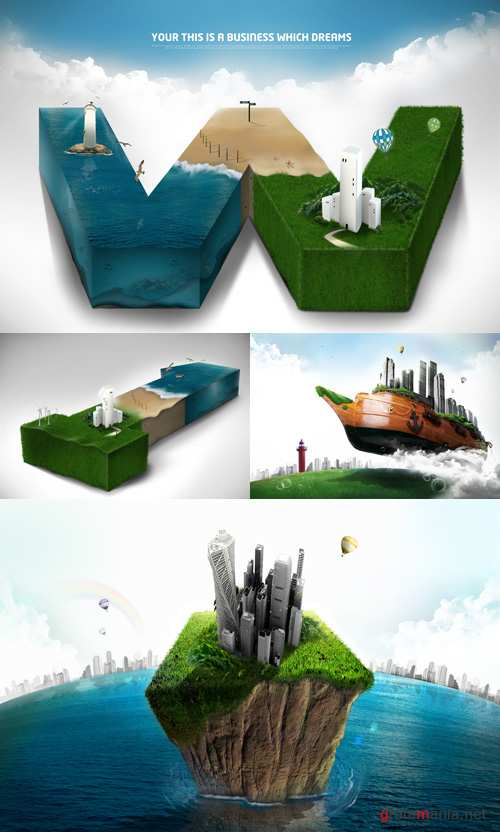 Business of your dreams psd for Photoshop