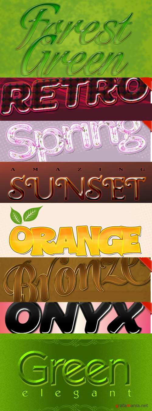 A collection of layered text styles for Photoshop