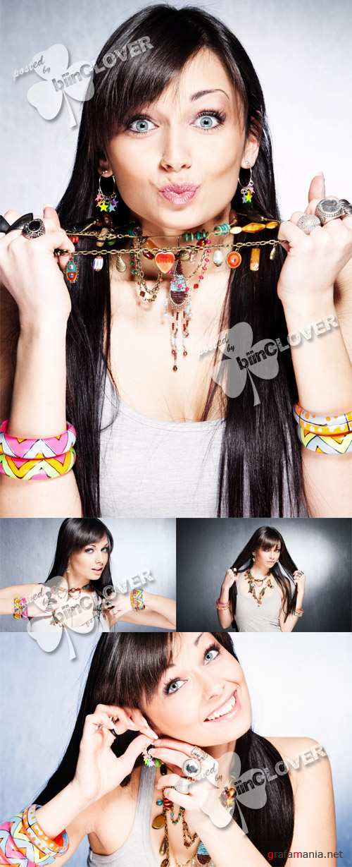 Girl with necklaces, rings and bracelets 0135