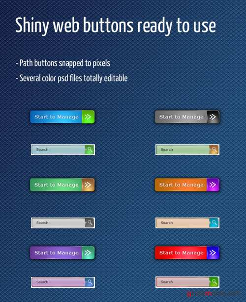 Shiny Web Button for Photoshop - Nature