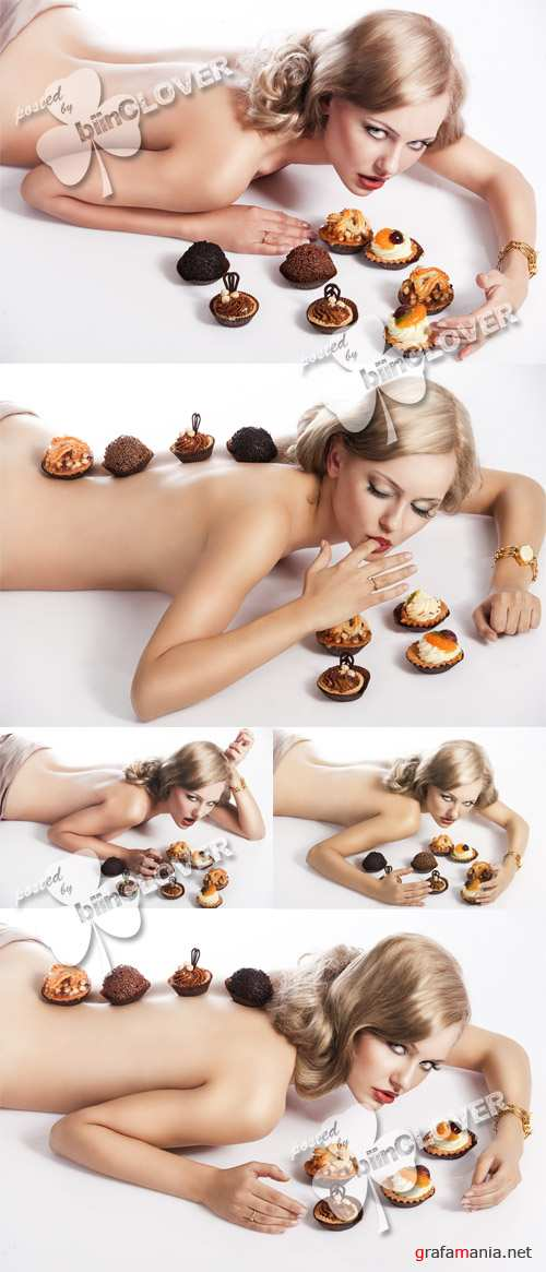 Woman with pastry 0137