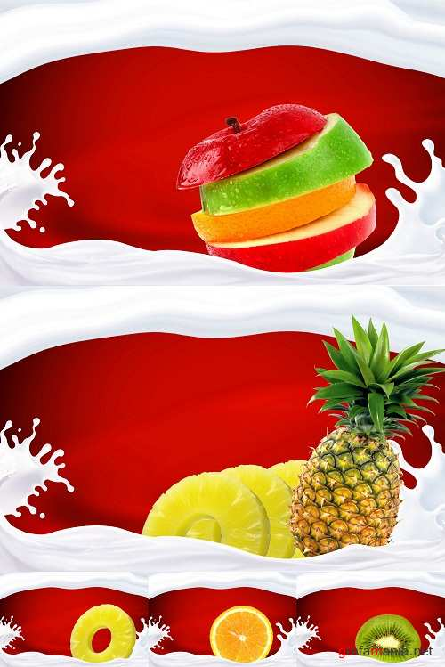 Fruits and and Milk Splash
