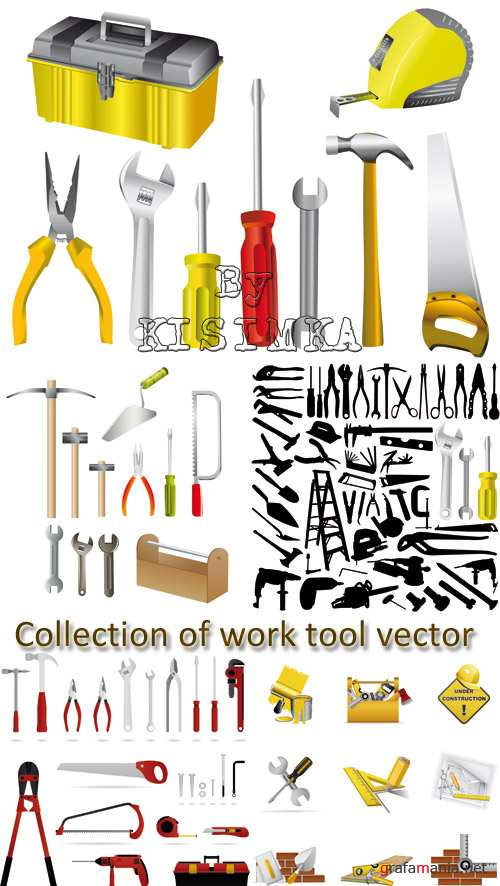 Stock: Collection of work tool vector