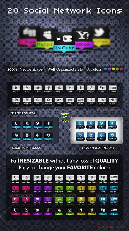 GraphicRiver - Awesome Social Network Icons