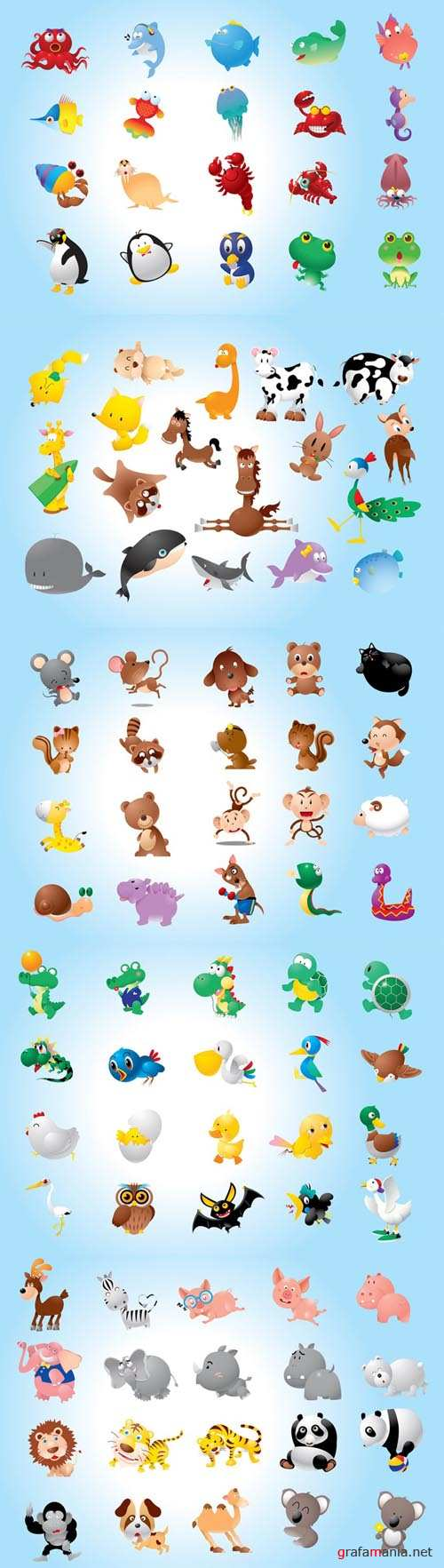 Vector Cute Animals Pack for Photoshop