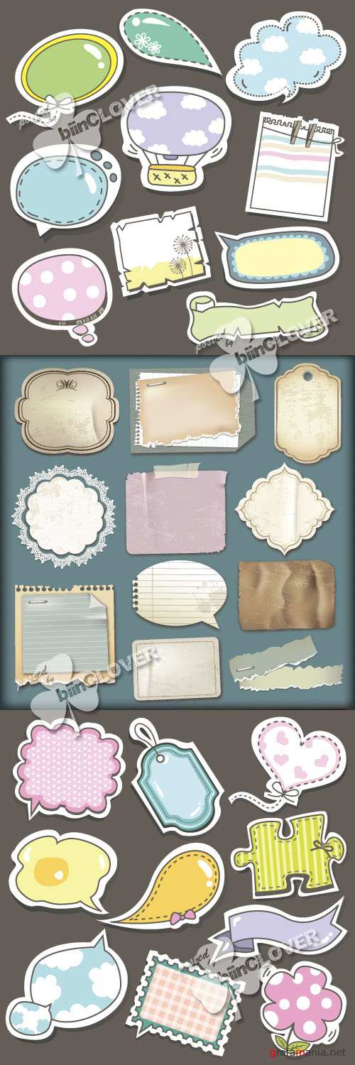 Set of old paper and speech bubbles 0145