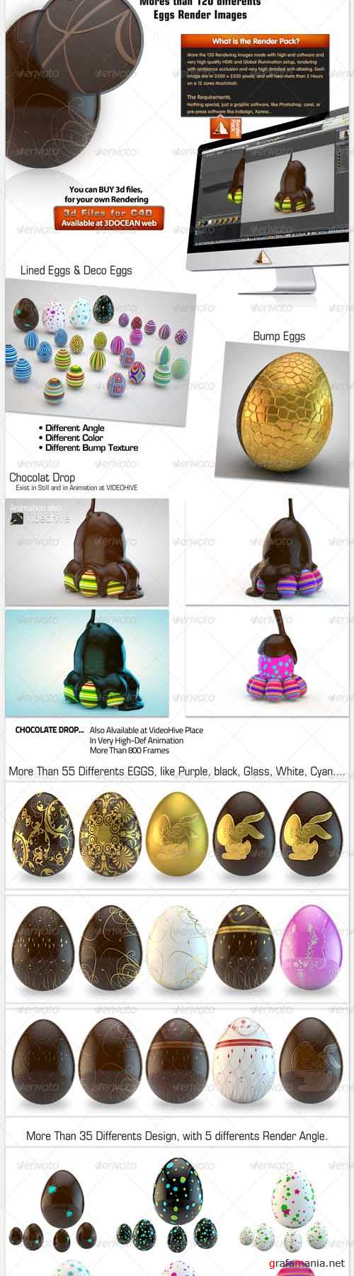 Easter Eggs Pack 001 3d Realistic