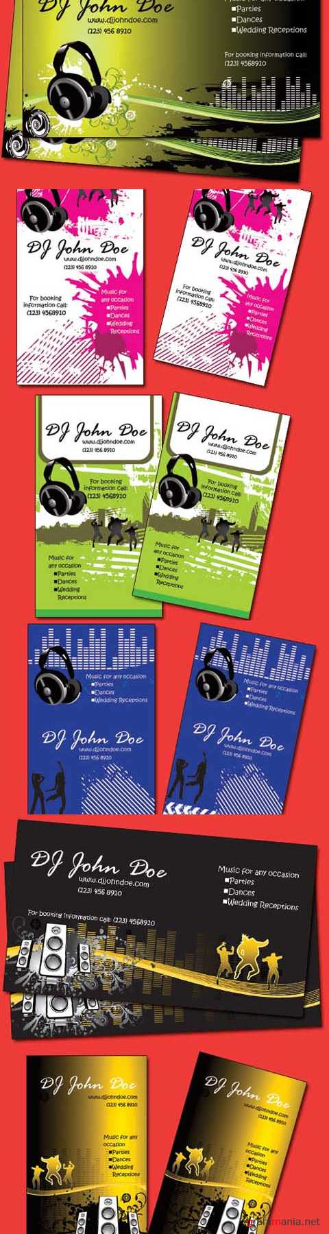 Dj Music Business Cards Pack psd for Photoshop