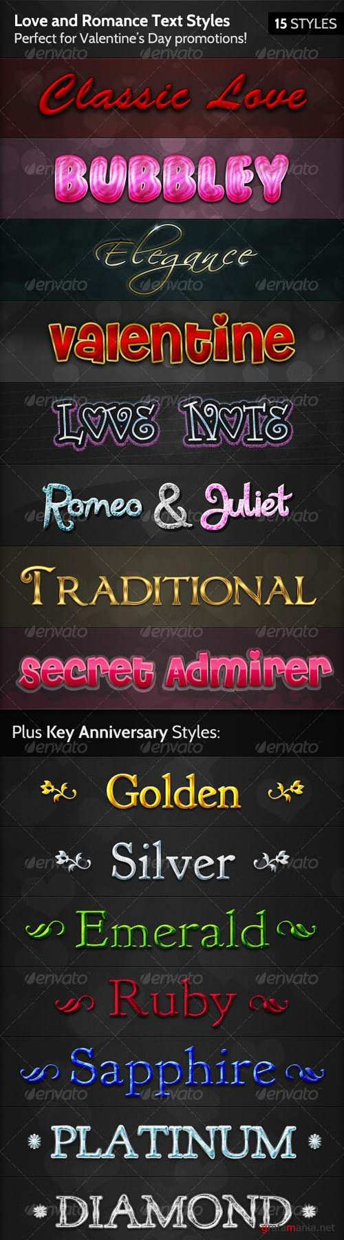 GraphicRiver Love and Romance Text Styles