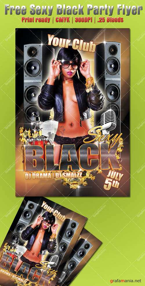 Sexy Black Party Flyer Template for Photoshop