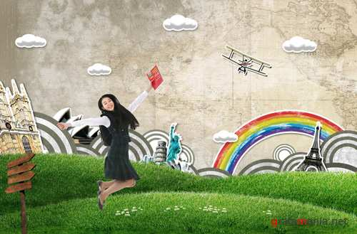 The dream of traveling around the world psd for Photoshop