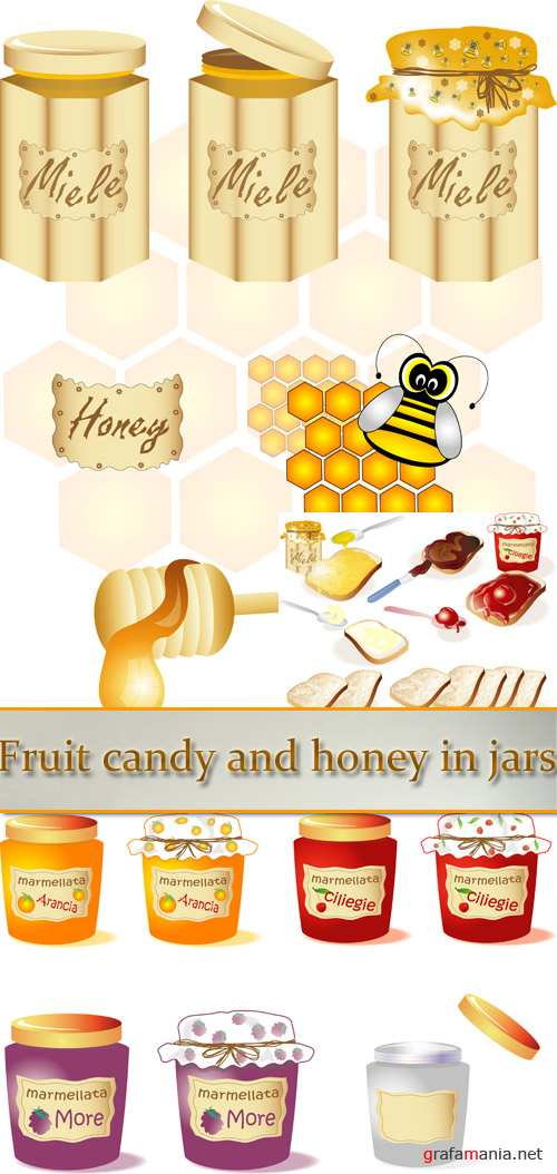 Stock: Fruit candy and honey in jars