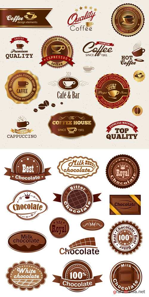 Coffee and Chocolate - Vintage Labels Vector Set #20