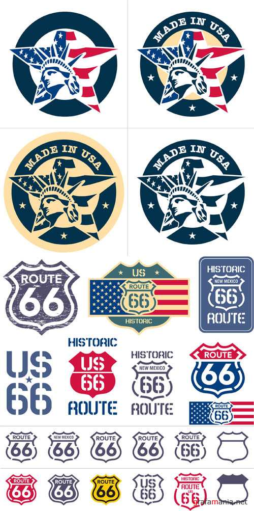 The United States Style - Vintage Labels Vector Set #24