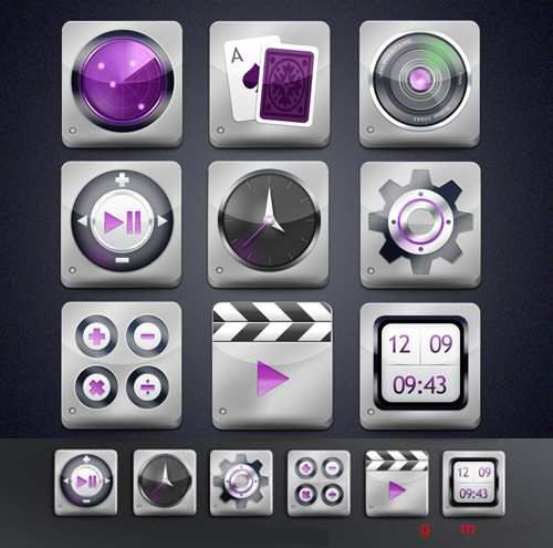 Steel App Style Icons for Photoshop