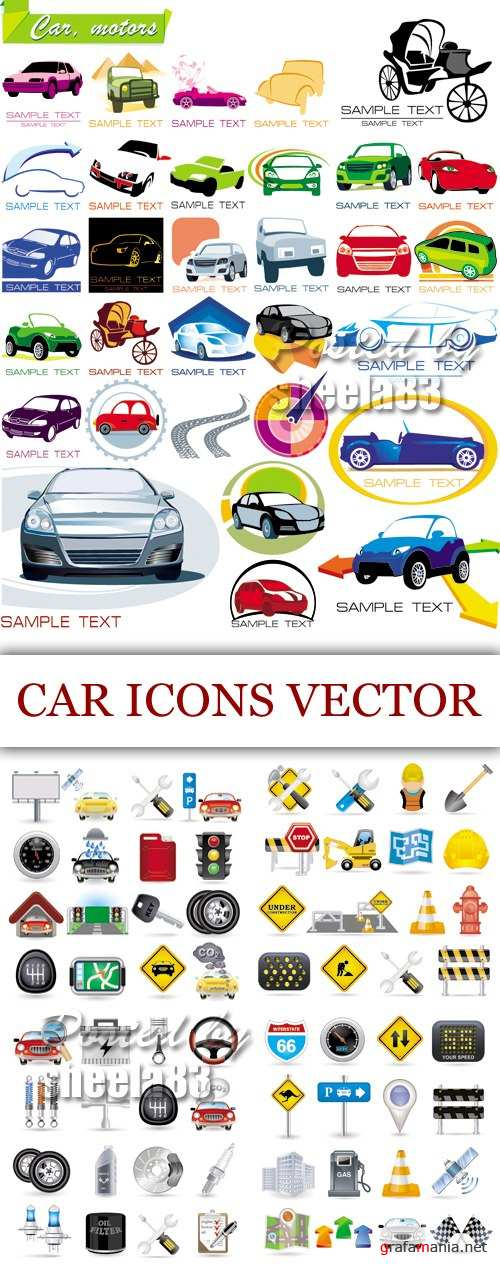 Car & Transportation Icons Vector