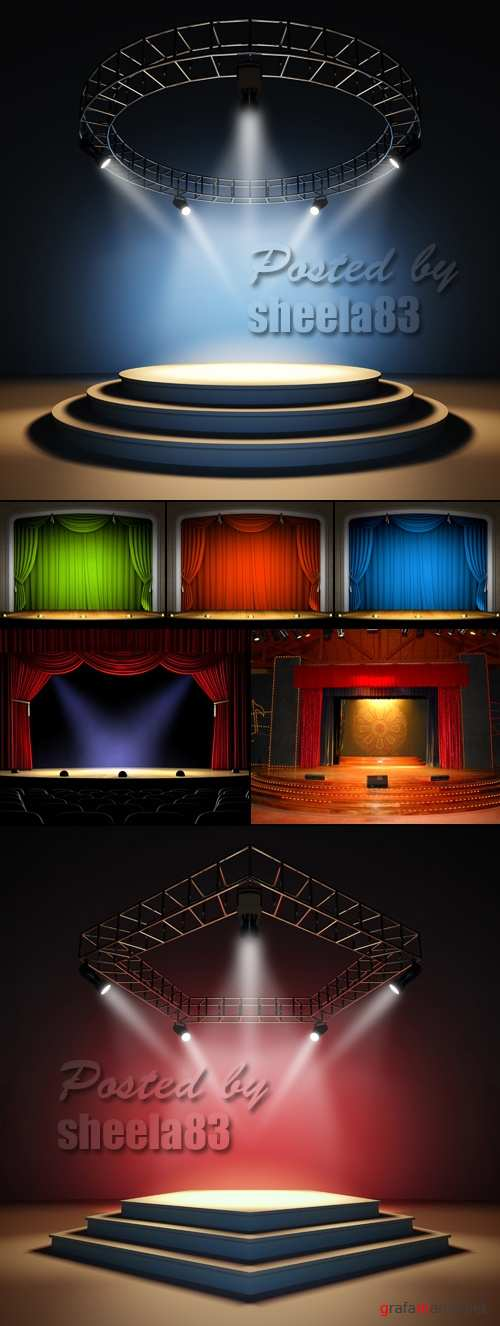 Stock Photo - Empty Stage with Spotlights
