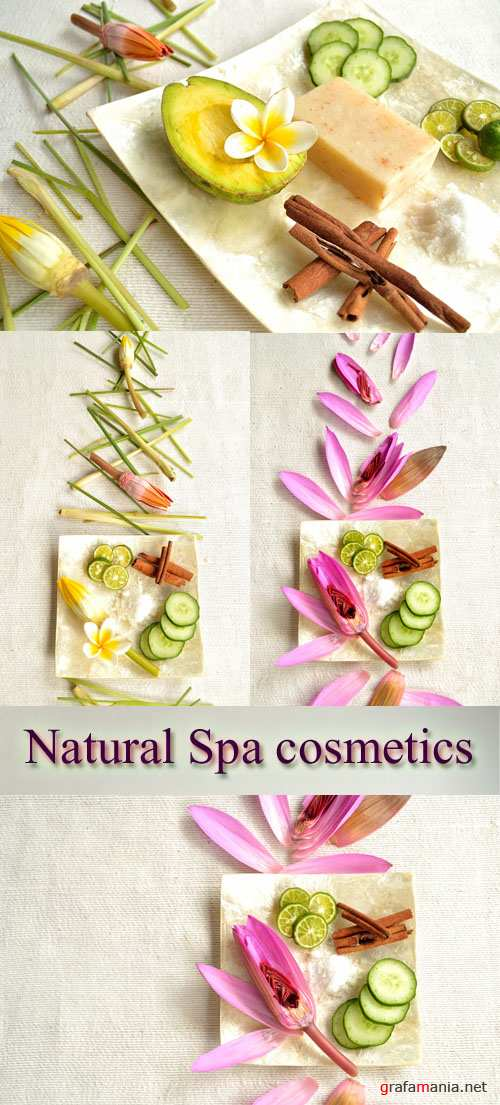 Stock Photo: Natural Spa cosmetics - lime, cucumber and cinnamon