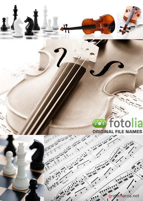 Stock Photo - Violin, Musical Notes and Chess #2