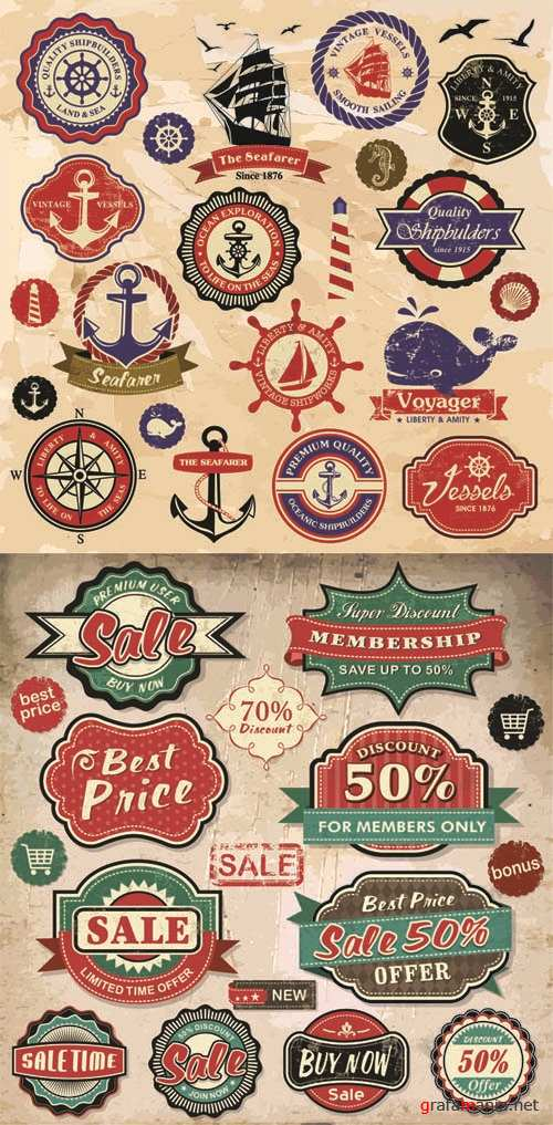 Vintage Labels Vector Set #56
