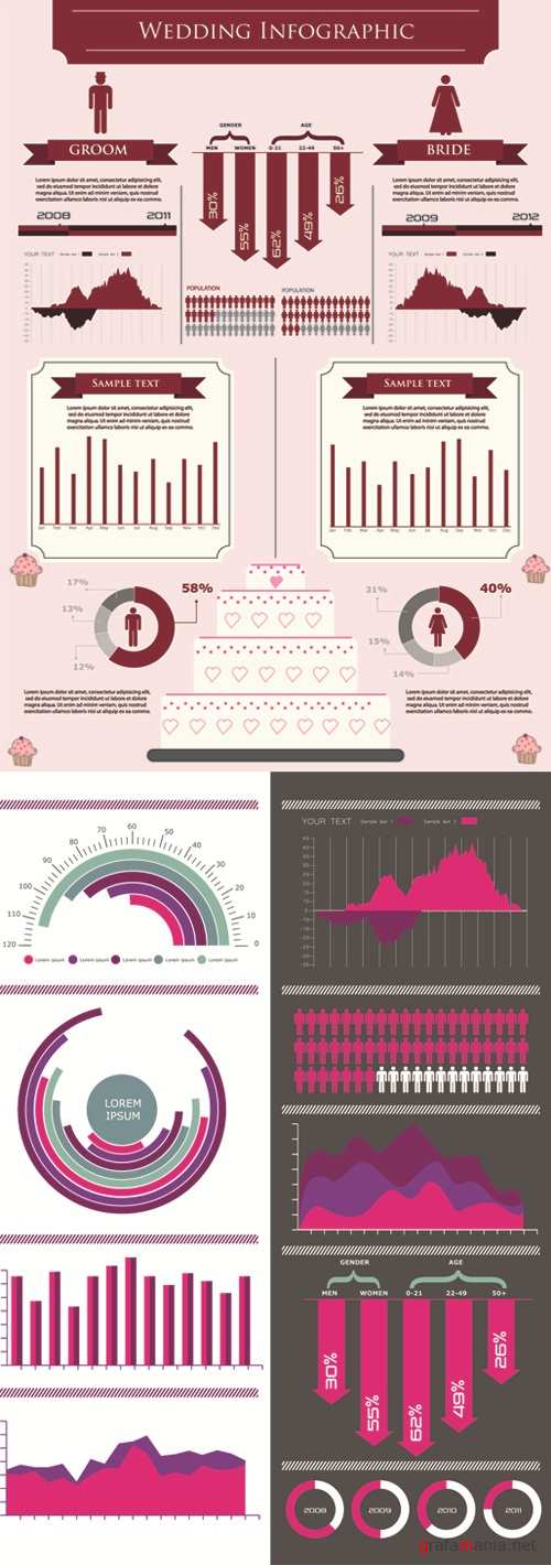Wedding - Infographics Vector Pack #107
