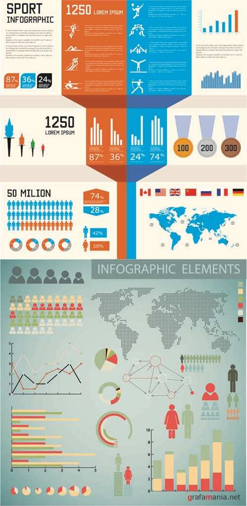 London Olympics 2012 - Infographics Vector Pack #111