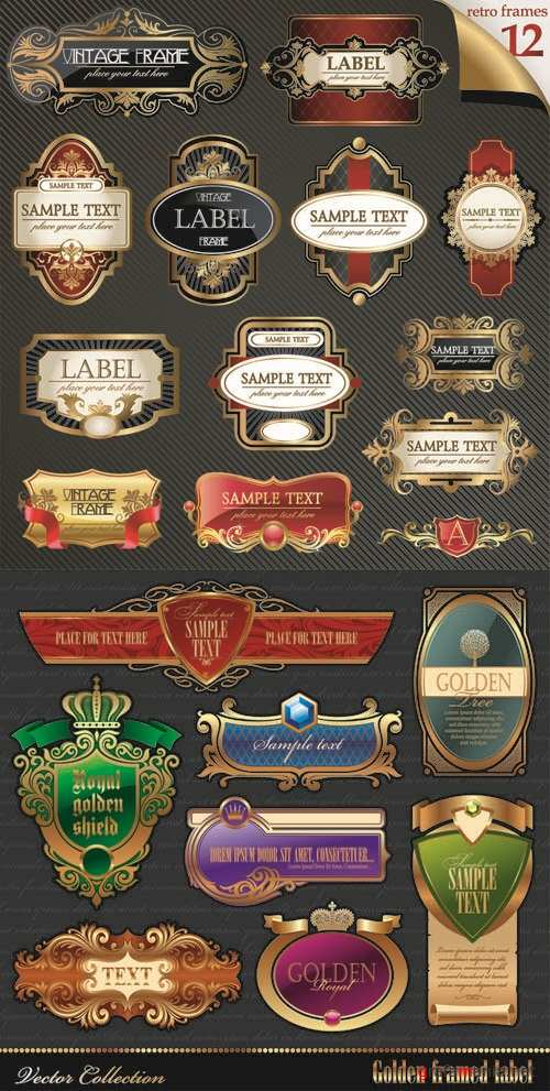 Royal Vintage Labels Vector Set #73