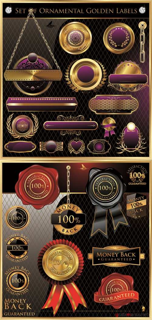 Gold & Red - Vintage Labels Vector Set #72