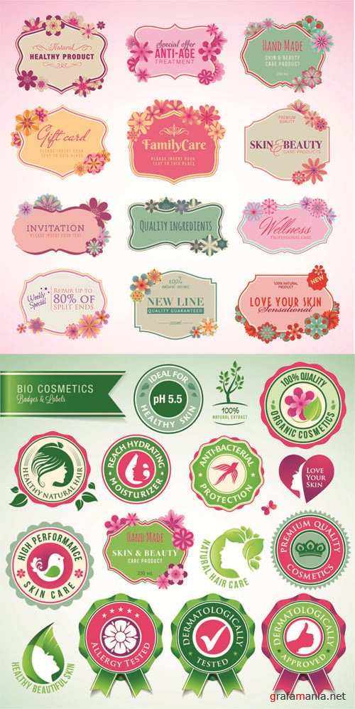 Bio Cosmetics - Vintage Labels Vector Set #75