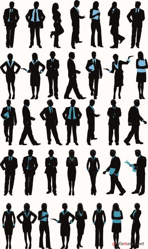 Silhouettes of Business People - Vector People Pack #39