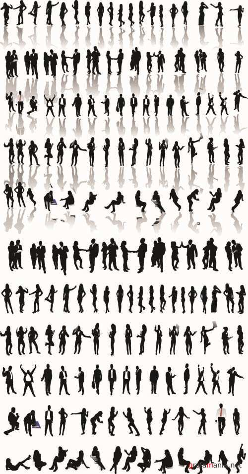 Silhouettes of Business People - Vector People Pack #41