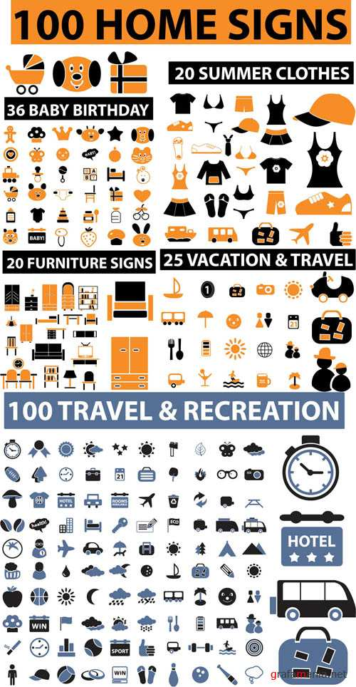 Home and Travel - 200 Vector Icons *