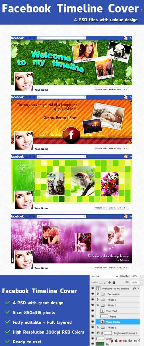 PSD Tempalte - Facebook Timeline Covers Pack 1