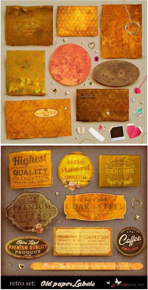 Old Paper Label and Old Gold Paper - Vector Stock' EPS