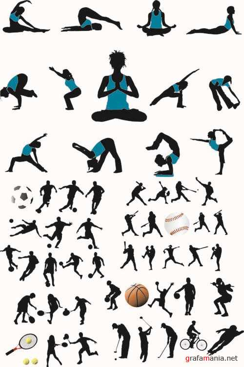 Silhouettes of Sport & Yoga People - Vector People Pack #45