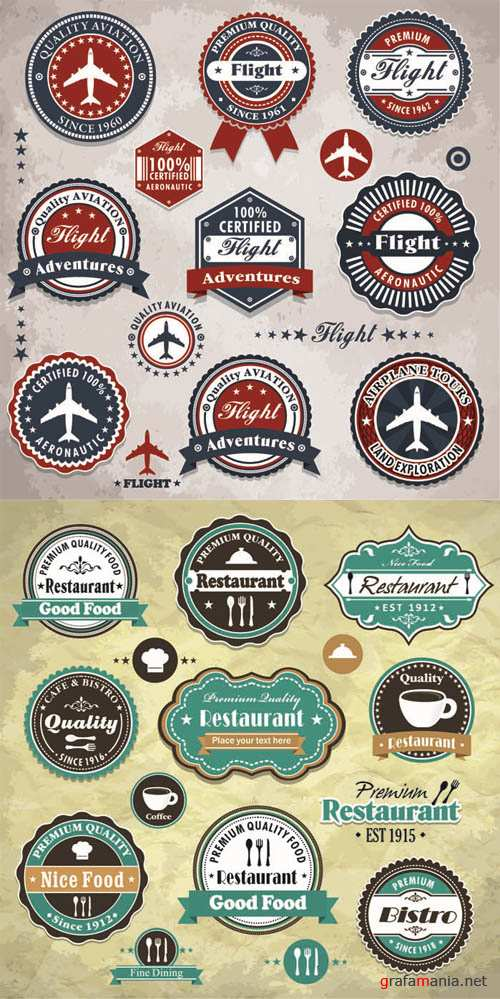 Restaurant & Aviation - Labels Vector Collection #86