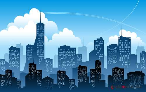 Silhouettes of a big city Vector