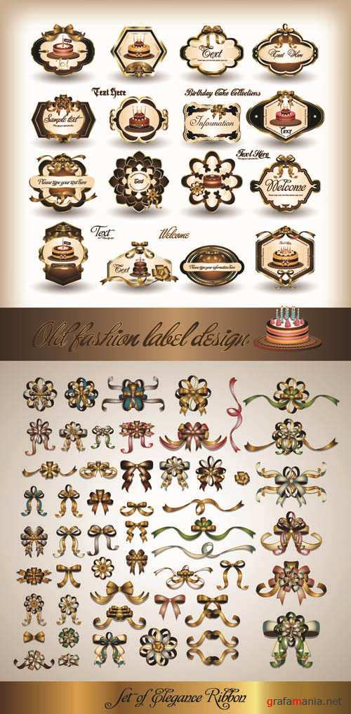 Elegant Vintage Labels and Ribbons - Vector Collection