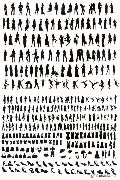 Womens Fashion Silhouettes - Vector People Pack #51