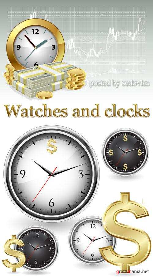 Watches and clocks - vector