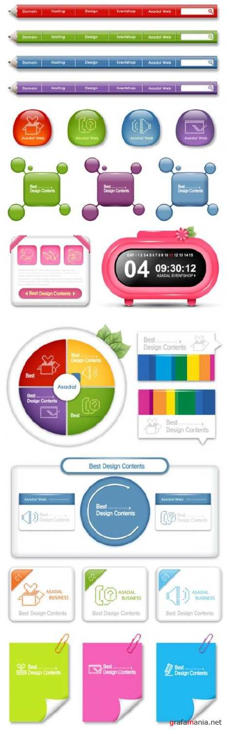 Sophisticated navigation buttons - vector
