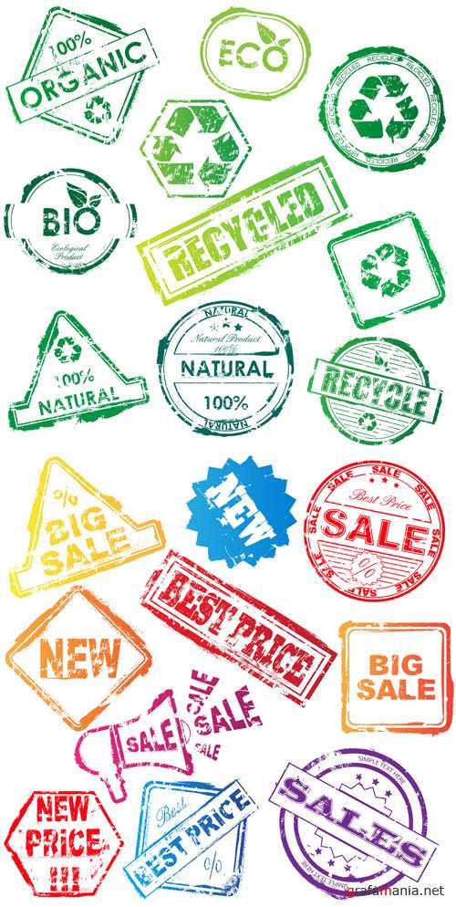 Eco & Sale Vector Stamps EPS