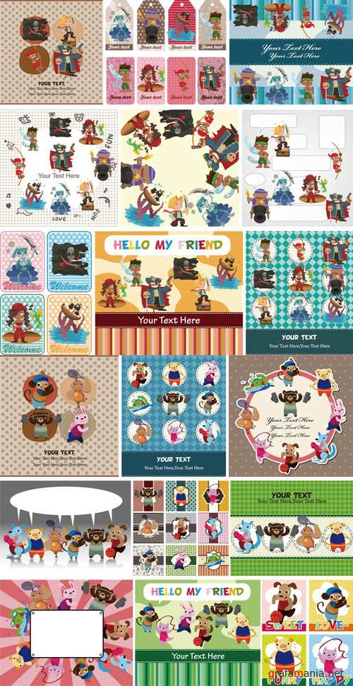 Pirates and Animals - Children's Vector Pack EPS
