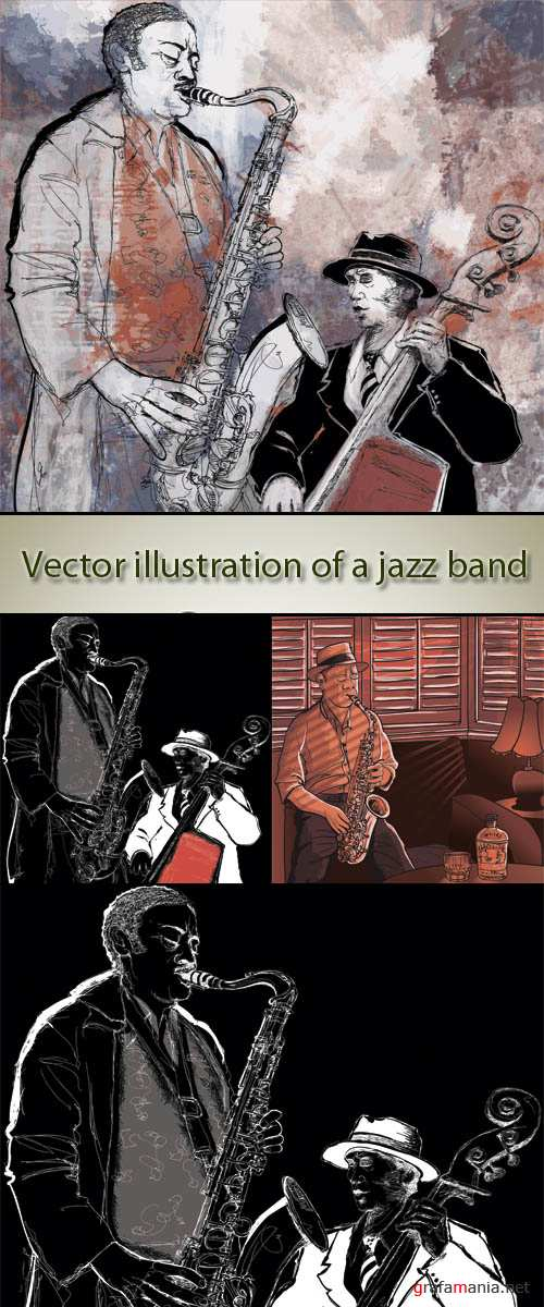 Stock: Vector illustration of a jazz band
