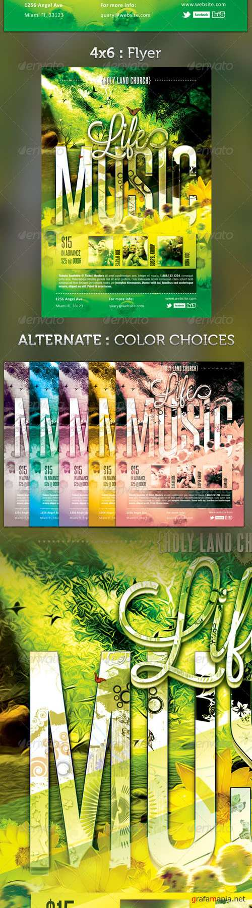 GraphicRiver - Life Music Gospel Flyer Template 2558124