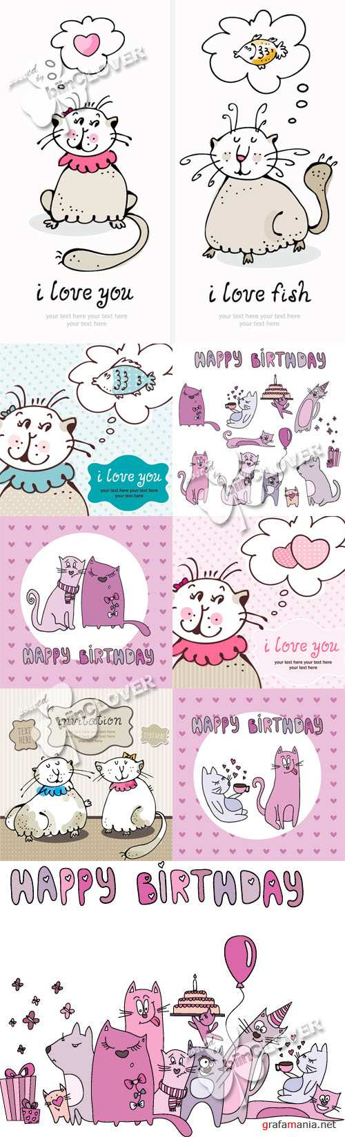 Cute cards with  cartoon cats 0219