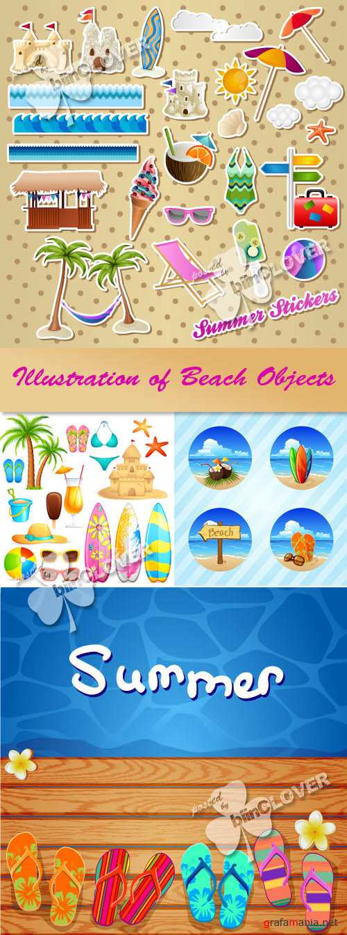 Illustration of beach objects 0219